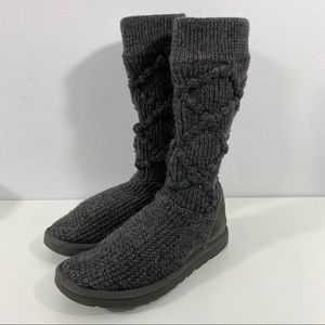 UGG Gray Argyle Sweater Cardy Boots.
